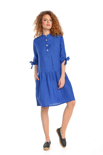 Summer Linen Dress Chica Blue - ILS-50