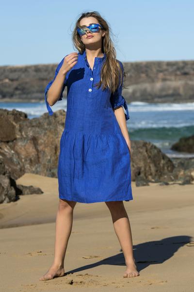Summer Linen Dress Chica Blue - ILS-50