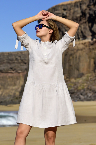 Summer Linen Dress Chica Grey - ILS-80