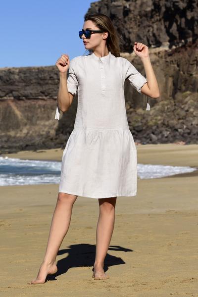 Summer Linen Dress Chica Grey - ILS-80