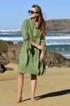 Summer Linen Dress Chica Green - ILS-40