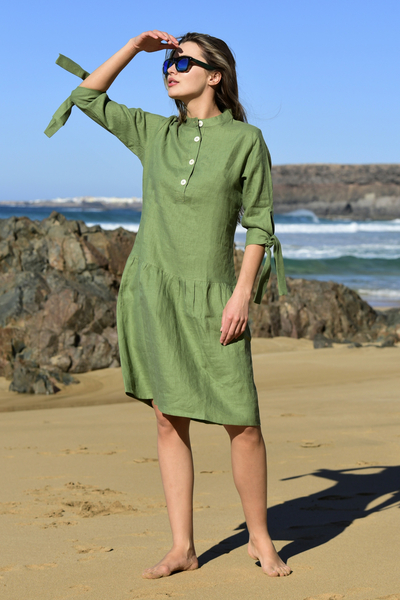 Summer Linen Dress Chica Green - ILS-40