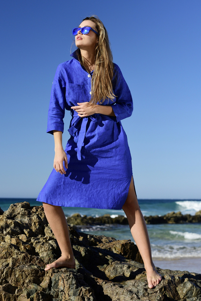 Summer Linen Dress Duna Blue - ILD-50