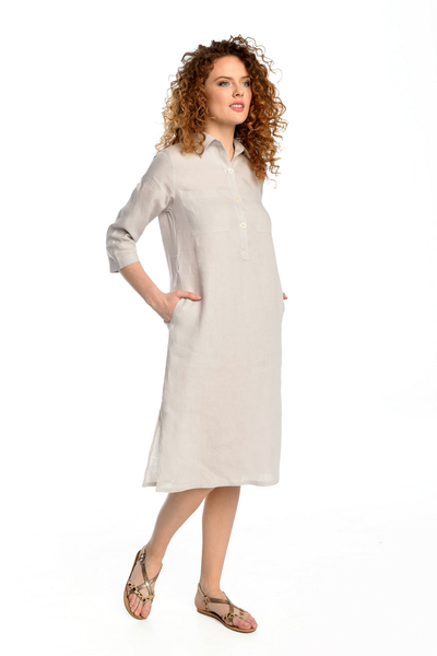 Summer Linen Dress Duna Grey - ILD-80