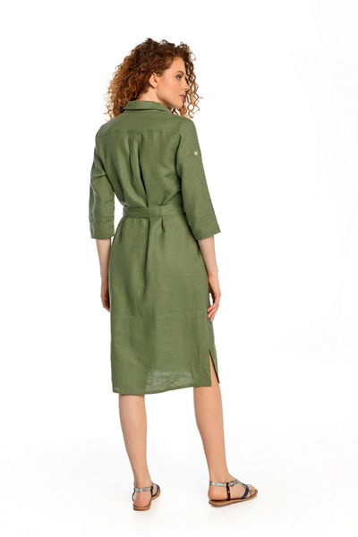 Summer Linen Dress Duna Green - ILD-40