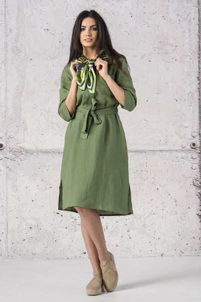 Summer Linen Dress Duna Green - ILD-40