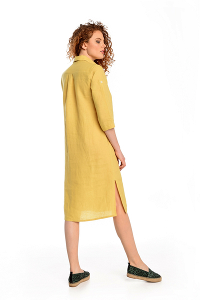 Summer Linen Dress Duna Yellow - ILD-10