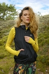 Ladies' sleeveless jacket Shiny 2 Black - HBD-90T