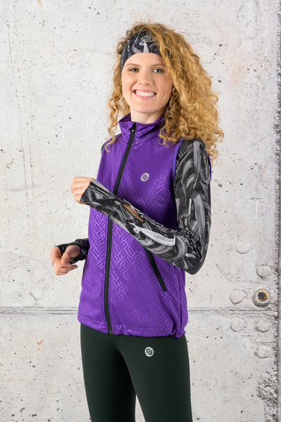 Ladies' sleeveless jacket Shiny 2 Purple - HBD-1260T