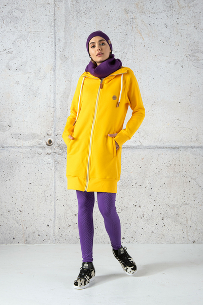 Long Sweatshirt With Hood - Fuerta Yellow - ORFR-10
