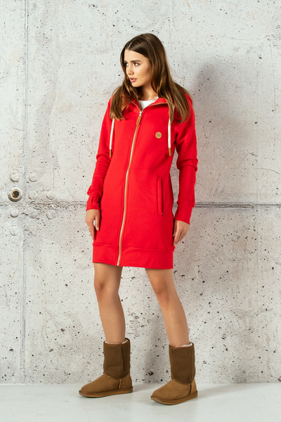 Long Sweatshirt With Hood Fuerta Red - ORFR-20