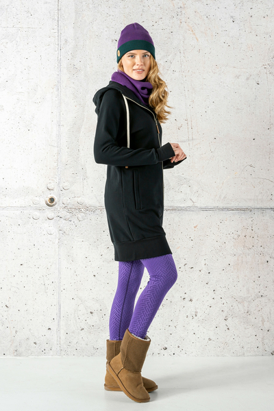 Long Sweatshirt With Hood Fuerta Black - ORFR-90