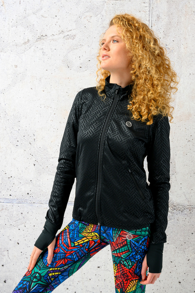 Zippered sweatshirt Shiny 2 Black - HRD-90T