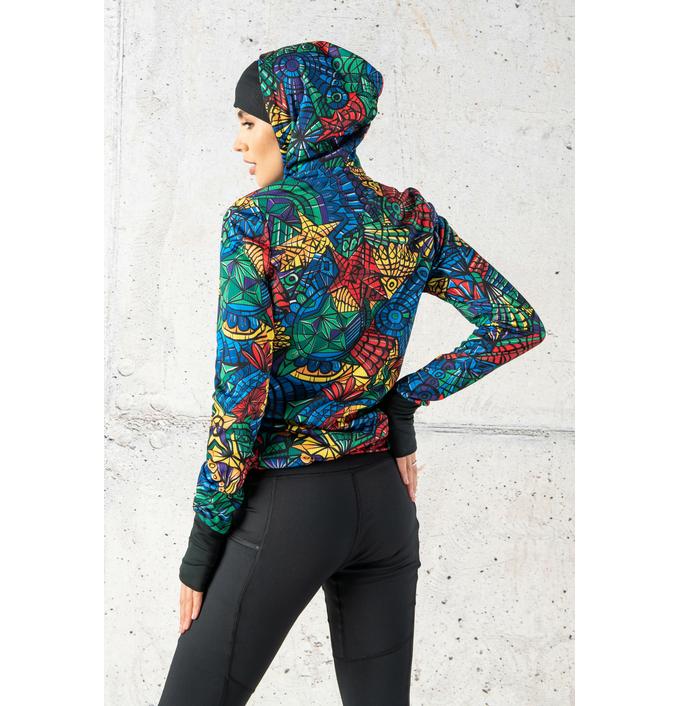 Ladies zipped hoodie Mosaic Lumo - HRDK-12M4 - packshot