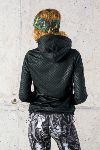 Ladies zipped hoodie Shiny 2 Black - HRDK-1290T