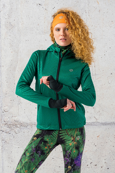 Ladies zipped hoodie Shiny 2 Green - HRDK-1250T
