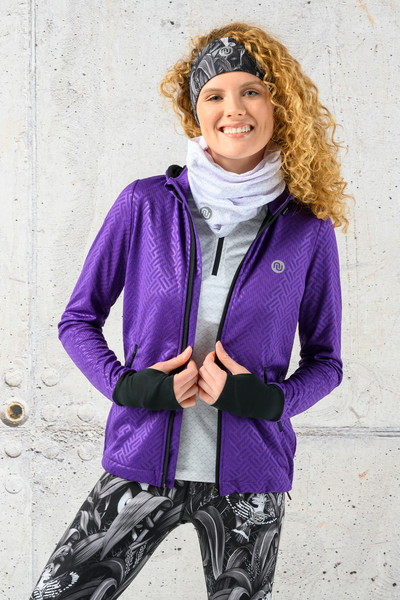 Ladies zipped hoodie Shiny 2 Purple - HRDK-1260T