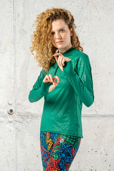 Training sweatshirt Zip Shiny 2 Green - LBKZ-1250T