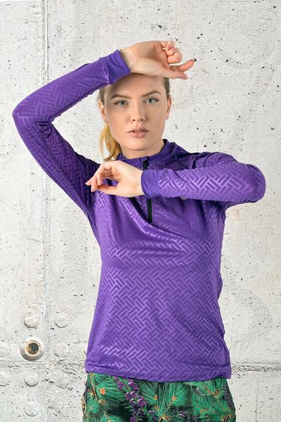 Training Sweatshirt Zip Shiny 2 Purple- FLBKZ-1260T
