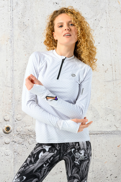 Training sweatshirt Zip White Mirage - LBKZ-11X0