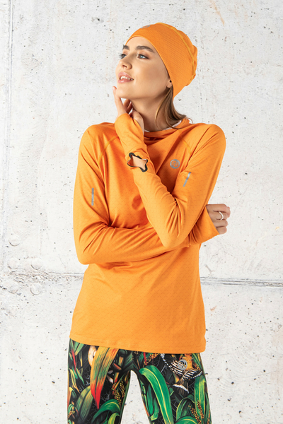 Training sweatshirt with a hood Orange Mirage - LBK-11X3