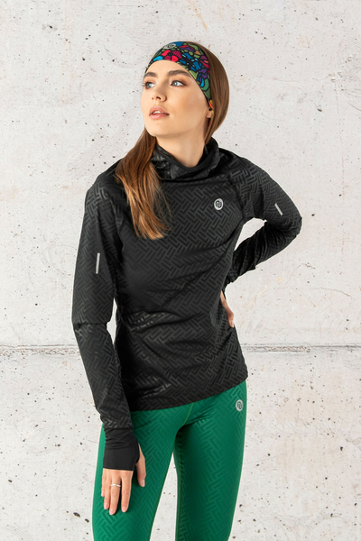 Training sweatshirt with a hood Shiny 2 Black - LBK-90T