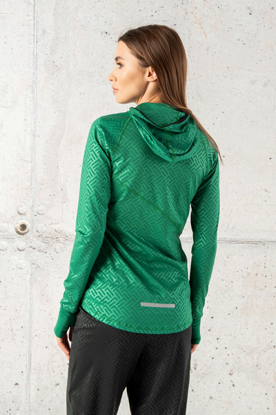 Training sweatshirt with a hood Shiny 2 Green - LBK-1250T