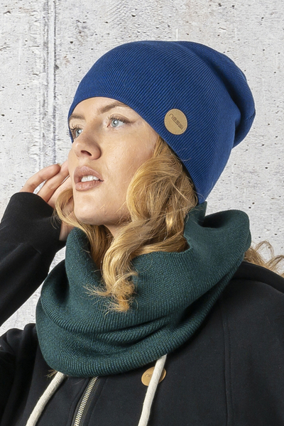 Double-sided beanie hat 100% Merino Navy blue-green - IWC-70-40