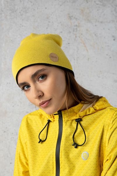 Double-sided cap 100% Merino Graphite-yellow - IWC-90-10