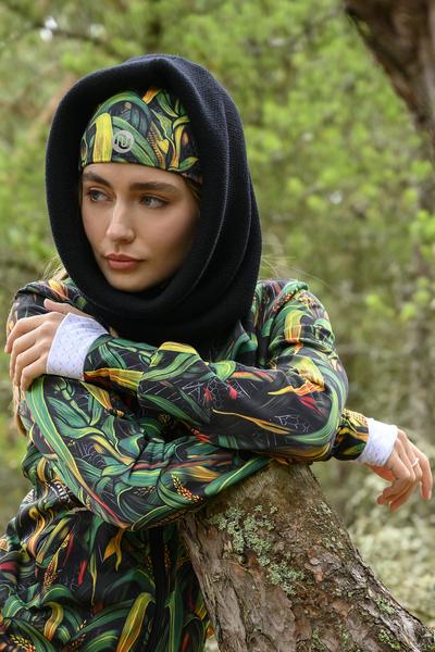 Merino tube scarf Black - ISE-90
