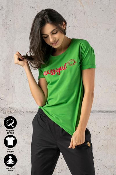 Ecocotton Loose Green T-shirt - ITB-40NG