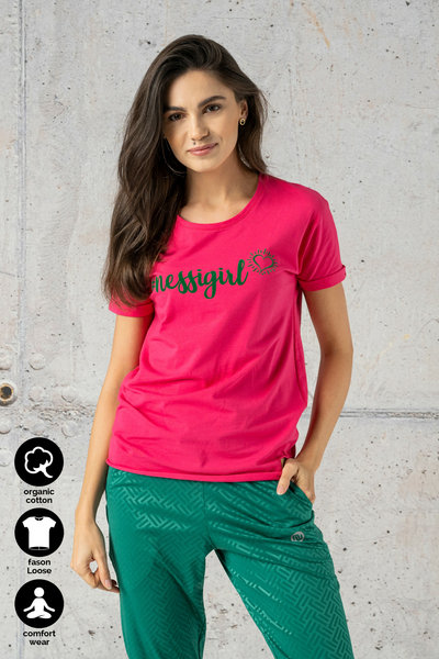 Ecocotton Loose Pink T-shirt - ITB-30NG