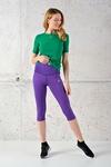 Fitness Leggings 3/4 Shiny 2 Purple - OSTF-1260T