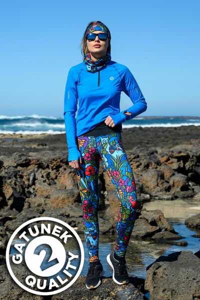 Leggings mit Multifunktions-Bund 4K Ultra HD Mosaic Flora - OSLP-11M4-G2