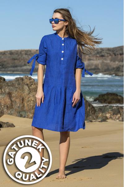 Summer Linen Dress Chica Blue II Quality - ILS-50-G2