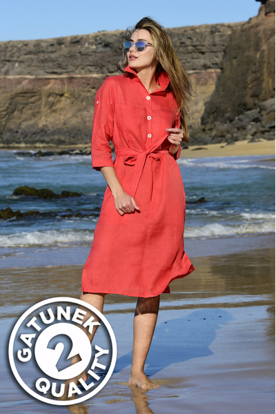 Summer Linen Dress Duna Red II Quality - ILD-20-G2