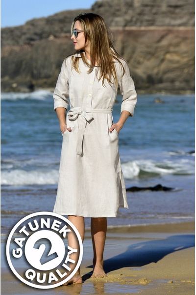 Summer Linen Dress Duna Grey II Quality - ILD-80-G2