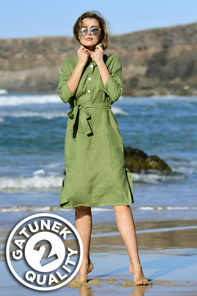 Summer Linen Dress Duna Green II Quality - ILD-40-G2