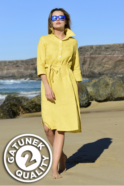 Summer Linen Dress Duna Yellow II Quality - ILD-10-G2