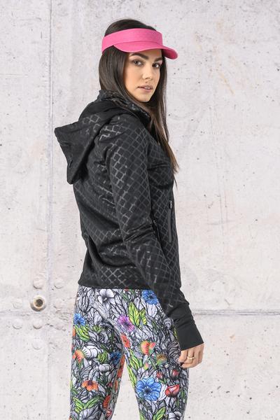 Ladies zipped hoodie Shiny Black - HRDK-1190T