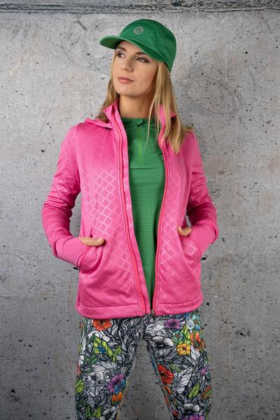 Ladies zipped hoodie Shiny Royal Pink - HRDK-1120T