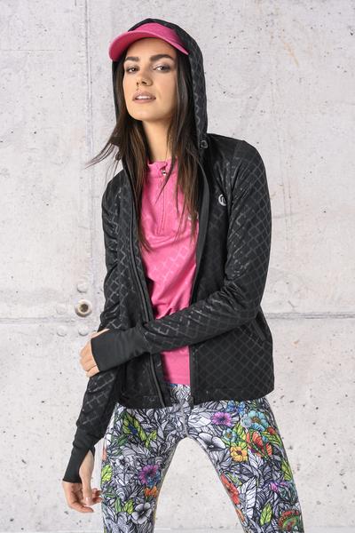 Ladies zipped hoodie Shiny 2 Black - HRDK-1190T