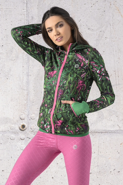 Ladies zipped hoodie Shiny 2 Black - HRDK-13L1