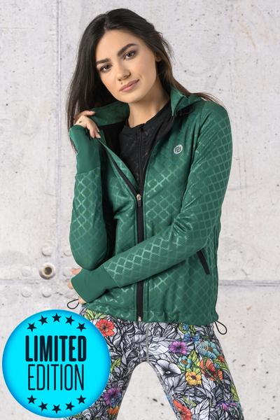 Bluza Rozpinana Z Kapturem LIMITOWANA Shiny Green - HRDK-1170T
