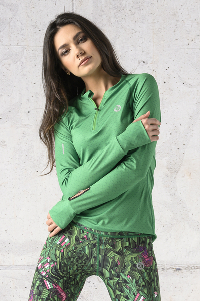 Training sweatshirt Zip Green Mirage - LBKZ-13X7