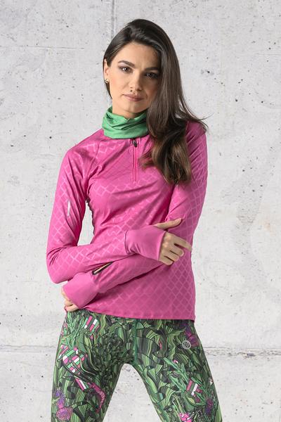 Bluza treningowa Zip Shiny Royal Pink - LBKZ-1120T
