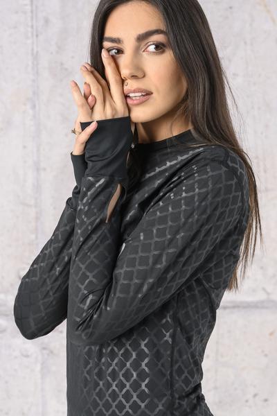 Training sweatshirt Zip Shiny Black - LBKZ-1190T