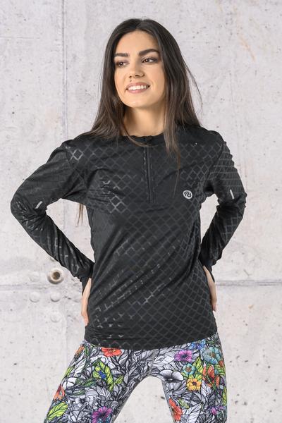 Bluza treningowa Zip fason T Shiny Black - LBZT-1190T