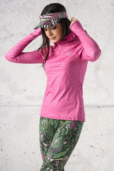 Training sweatshirt with a hood Shiny Royal Pink - LBK-1120T