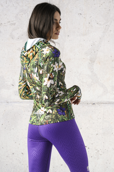 Training sweatshirt with a hood Wild Flowers / Gamo Yellow - LBK-13WS1